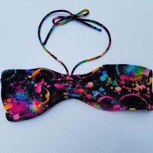 OP Splatter-Paint Black and Neon Bikini Top